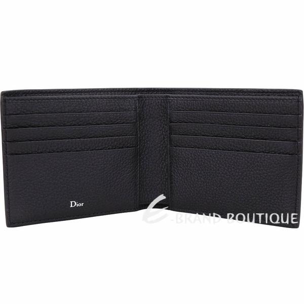 Dior 黑色頂級小牛皮極簡八卡短夾 1830062-01