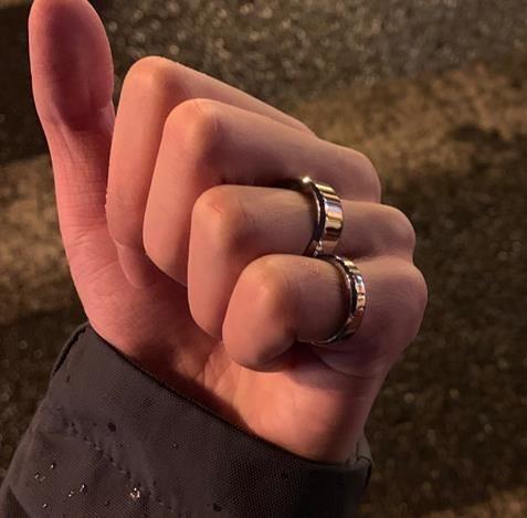 Chaifu Studio /J126 簡約港風個性指小眾環男女款不銹鋼情侶戒指 滿天星