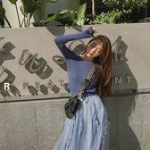 韓版休閒毛衣半身裙套裝S-XL新款春装女时尚网纱裙长裙圆领长袖超短款针织毛衣半身裙套装T126-921