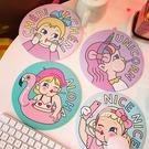 可愛創意少女簡約滑鼠墊小清新棒棒糖女孩圓形皮革滑鼠墊女生 歐韓流行館