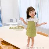 棉小班童裝新款女童裙子洋裝韓版休閒洋裝小清新牛油果綠兒童吊帶裙 米娜小鋪