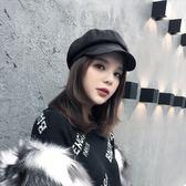現貨-韓國復古純色貝雷帽麂皮絨鴨舌畫家帽女秋冬新款八角帽百搭報童帽