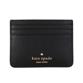 KATE SPADE Darcy十字紋皮革卡片夾(黑色)