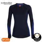 【Icebreaker 女 ZONE 網眼透氣保暖長袖上衣 BF260《海軍藍》】104477/內層衣/薄長袖/內著