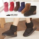[Here Shoes]6色 熱銷超值特價太陽花膠底厚挺毛料豹紋拼接防滑短筒雪靴雪地靴─AL122