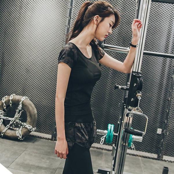 【BODYAIR】假兩件彈力迷彩七分褲(瑜珈.運動.慢跑)