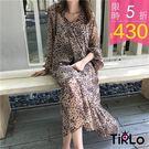 洋裝 -Tirlo-韓妞感豹紋溫柔雪紡洋...
