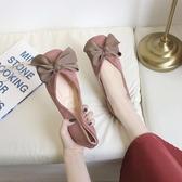 夏平底方頭單鞋女淺口大蝴蝶結甜美軟底鞋上班工作鞋黑色 聖誕交換禮物