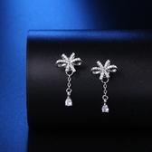 耳環 925純銀鑲鑽-精緻迷人情人節生日禮物女飾品73hk48【時尚巴黎】