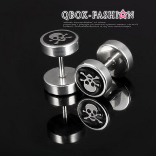 《QBOX 》FASHION 飾品【W2016N305】精緻個性骷顱頭圖紋圓形316L鈦鋼針式耳環