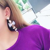 蕾絲蝴蝶結珍珠耳環日韓氣質女長款流蘇蝴蝶結耳墜個性正韓耳飾品