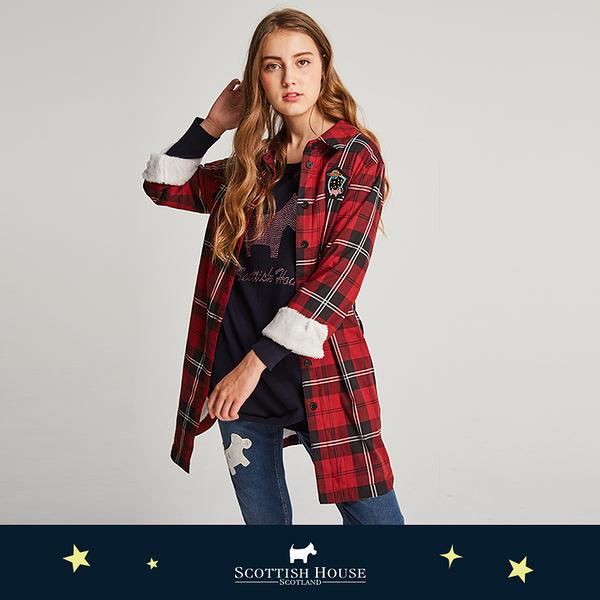 【紅黑格】內刷毛長板格子襯衫式洋裝 Scottish House【AJ3106】