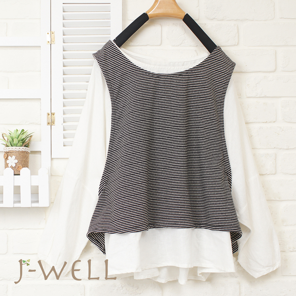 J-WELL 配色條紋兩件式燈籠袖上衣(2色) 8J1317