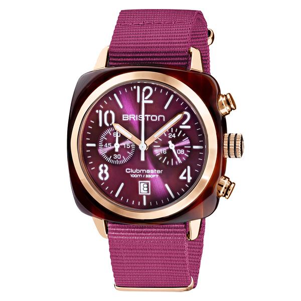 BRISTON CLUBMASTER 經典雙眼計時腕錶-優雅紫