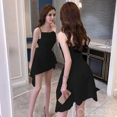 露背洋裝吊帶裙子女夏新款小禮服一字肩露背性感燕尾a字裙收腰洋裝   草莓妞妞