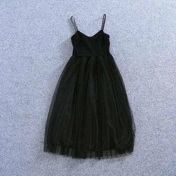 週年慶優惠-網紗吊帶裙 洋裝 打底裙子 無袖背心裙