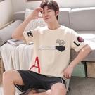 睡衣 100%純棉睡衣男夏季短袖套裝青可外穿短褲休閒加肥加大碼200斤