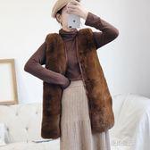仿皮草馬甲女中長款冬毛毛坎肩新款韓版背心外套寬鬆無袖馬甲    原本良品