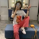 韓國2020夏季減齡套裝女寬松顯瘦泫雅T恤粉色大口袋闊腿褲時尚兩件套