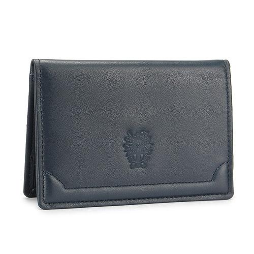 DAKS經典家徽壓紋軟皮革證件名片夾(夜藍色)230194-05