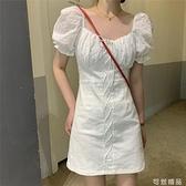 泡泡袖方領白色洋裝女夏季新款超仙森系短袖辣妹裙子ins風 可然精品