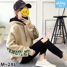 【V2786】shiny藍格子-冬日氣息.字母印花寬鬆連帽上衣