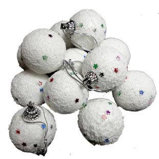 聖誕節 裝飾  帶粉白色雪球/6個7g