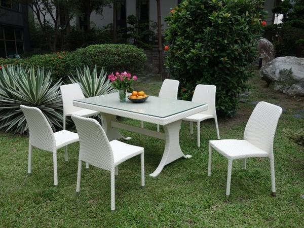 【南洋風休閒傢俱】戶外休閒系列-編藤桌椅組 白色夢幻餐桌椅 戶外餐桌椅組 HT-706 + HC-378-W