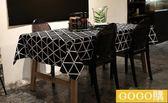 現代簡約幾何格子條紋餐桌桌布