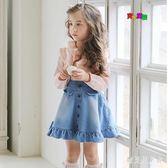 女童牛仔花邊吊帶裙 2019新款童裝兒童背帶裙背心裙全棉質 BF21163『寶貝兒童裝』