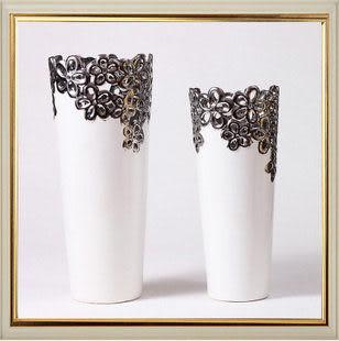 陶瓷鍍金工藝品擺件 家居裝飾 新房裝飾 鍍銀花瓶 對瓶