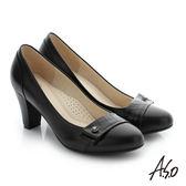 A.S.O 個性美型 真皮飾釦奈米窩心粗跟鞋 黑