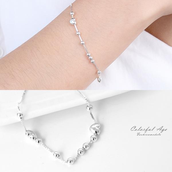 手鍊 925純銀雙心滾動圓珠 可混搭手錶或單配 好感 禮物【NPA76】