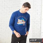【JEEP】精緻立體圖騰長袖TEE-男女適穿-深藍