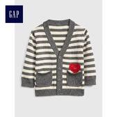 Gap男嬰兒 橫條紋V領長袖開襟針織衫 399761-深石楠灰