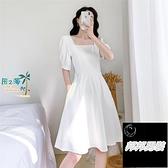 白色赫本連衣裙女泡泡袖方領收腰中長版小黑裙夏洋裝短袖連身裙品牌【邦邦男裝】