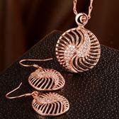 玫瑰金銀飾套裝含項鍊+耳環-中國風鑲鑽生日聖誕節禮物女飾品2色73bv28【時尚巴黎】
