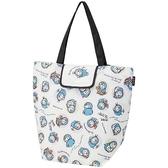 小禮堂 哆啦A夢 折疊尼龍環保購物袋 環保袋 側背袋 手提袋 (白黑 初期) 4973307-50724