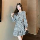 長袖洋裝 高級感碎花連身裙-媚儷香檳-【FD0069】