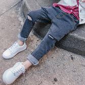 男童牛仔褲2018春秋款新款兒童1-3歲正韓童裝寶寶破洞小腳褲子潮
