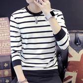 青年潮流長袖t恤圓領條紋上衣服男士秋季帥氣衛衣修身男裝打底衫  良品鋪子