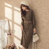 東京著衣【YOCO】微熟韓妞大圓領腰釦環毛料洋裝-S.M.L(182522)