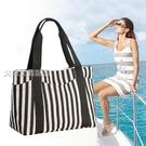 單肩包品牌布包條紋帆布包女新款帆布單肩包手提媽咪包大包大容量帆布包26 快速出貨