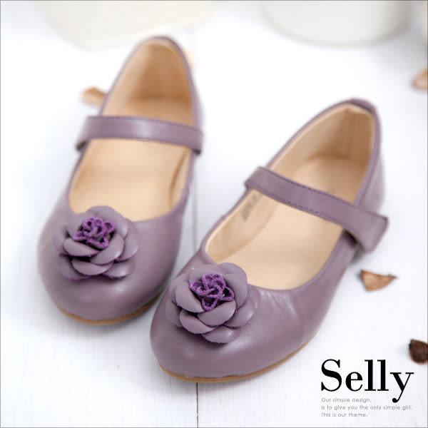 Selly * 沙粒 * 童鞋‧浪漫甜心‧經典山茶花‧柔軟彎折牛皮娃娃鞋 *愛情魔芋