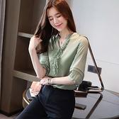 洋氣雪紡衫襯衫女夏裝新款純色短袖打底衫小衫韓版V領上衣服GD747-A胖妞衣櫥