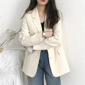 OL外套 韓版米白色女長袖百搭秋季網紅風女上衣寬鬆西服 - 歐美韓熱銷