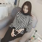 【QV2155】魔衣子-波浪黑白條紋寬鬆...