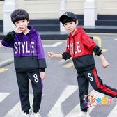 兒童童裝男童冬裝套裝2018新款冬季金絲絨秋裝刷毛加厚運動兩件套