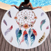 沙灘巾毛巾布 圓形 彩繪 印花 流蘇 野餐巾 海灘巾 圓形沙灘巾 150*150【YC005】 BOBI  04/03