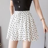 百褶裙 夏季新款波點雪紡短裙褲寬鬆a字寬管褲裙鬆緊腰百褶裙半身裙女